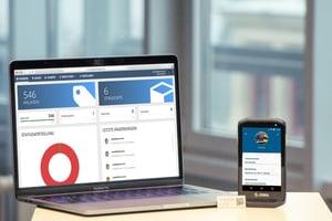 ITEXIA Software mit Etiketten-Scanner und einem Etikett